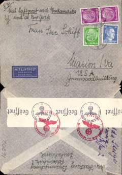 "(Germany) Germany to USA, WWII censored double rate airmail cover, Braunschraig to Marion, Va, USA, franked 105rpf, canc Braunschraig 3/9/41 cds, typed ""Mit Luftpost nach Nordamerika und ab New York"", ms ""8g"", sealed black/white German OKW censor tape, code e Frankfurt. Correctly rated for 8g Germany to USA by Pan Am via Lisbon, 2x 40rpf/5g air fee + 25rpf/20g surface (see Beith p39). Until December 1941, when USA entered the war, mail carried from Europe to North America by Pan Am, which had already been censored in Germany, was only sometimes censored again when it passed through Bermuda. A nice example of  the 2x rate, and of the much lower Pan Am rate."