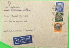 "(Germany) LATI, Germany to Paraguay, censored WWII airmail etiquette cover, Koln to Asuncion, bs 3/11/40, franked175rpf, canc Koln/14/10/40 cds, typed ""Per Luftpost"", ms ""nach Sudamerika"" and ""5g"", sealed black/white German OKW censor tape, no code, also German framed number censor marks verso. Correctly rated for 5g Germany to Paraguay by LATI, 150 rpf/5g air fee + 25rpf/20g surface (see Beith p39). Flown DLH/Ala Littoria to Rome, Rome to Rio de Janeiro by LATI, then likely Pan Am to Asuncion, thus avoiding the British censorship on the Pan Am North Atlantic service. Dates suggest flown from Europe on 20/4/40 by pilot Moretti in Savoia Marchetti 83 Reg I-AZUR.  Bottom left hand corner trim, also some non invasive flap damage verso. Covers from Germany to Paraguay are scarce. ."