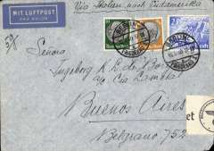 "(Germany) LATI, Germany to Argentina, censored WWII airmail etiquette cover, Berlin to Buenos Aires, black '2045' in circle mail reception mark of Buenos Aires Main Post Office, franked 175rpf, canc Berlin 15/5/40 cds, ms ""Via Italien  nach Sudamerika"", ms ""5g"", sealed black/white German OKW censor tape, code e Frankfurt. Correctly rated for 5g Germany to Argentina by LATI, 150rpf/5g air fee + 25rpf/20g surface (see Beith p39).  Flown DLH/Ala Littoria to Rome, Rome to Rio de Janero by LATI, then Syndicato Condor to BA, thus avoiding the British censorship on the Pan Am North Atlantic service.  LATI was not extended from Rio de Janero to BA until July 1941."