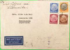 """(Germany) Germany to Argentina, flown by LATI, censored WWII airmail etiquette cover, Augsburg to Buenos Aires, bs 10/10/40, also black '1074' in circle Buenos Aires postman's mark, franked 175rpf, canc Augsburg/?/?/40 cds, ms """"Mit Luftpost nach Sudamerika"""", ms """"5g"""", sealed black/white German OKW censor tape, no code. Correctly rated for 5g Germany to Argentina by LATI, 150rpf/5g air fee + 25rpf/20g surface (see Beith p39). Flown DLH/Ala Littoria to Rome, Rome to Rio de Janero by LATI, then Syndicato Condor to BA, thus avoiding the British censorship on the Pan Am North Atlantic service.  LATI was not extended from Rio de Janero to BA until July 1941. Closed tear verso, otherwise good. Please note, the exact day of posting is illegible."""