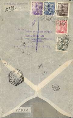 "(Spain) LATI, Spain to Argentina, censored single rate WWII registered airmail cover, Malaga to Cordoba, black '686' in diamond Cordoba postmans mark, franked 7P 30c canc Malaga/7/12/40  hexagonal ds,  via Sevillle 8/12, typed ""Republica Argentina"", uncommon purple Spanish unframed censor mark #404, see Stitch&Stitch p200. Military censorship of the mails was still the rule in Spain for some years after the end of the Civil War. Correctly rated for 5g registered Spain to Argentina by LATI, 6P/5g air fee + 30c/20g surface + 1P registration. Carried by LATI  all the way from Rome to Rio de Janero, then Syndicato Condor to Buenos Aires, thus avoiding the British censorship on the Pan Am North Atlantic service. Flap missing, non invasive top edge tear, barely visible from front."