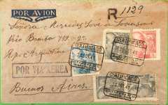"(Spain) Spain to Argentina, flown by LATI, single rate censored WWII registered (hs) airmail cover, Barcelona to Buenos Aires, black circular '66/Certificados/Central' registered mail reception of Buenos Aires Main Post Office verso, franked 7P 30c canc, canc Barcelona 20/10/41 boxed and hexagonal cds's, typed, blue boxed 'Por Via Aerea' hs, Spanish blue boxed ""Censura Gubernata/Barcelona"" censor mark on departure. Military censorship of the mails was still the rule in Spain for some years after the end of the Civil War. Correctly rated for 5g registered Spain to Argentina by LATI, 6P/5g air fee + 30c/20g surface + 1P registration. Carried by LATI all the way from Rome to Buenos Aires, thus avoiding the British censorship on the Pan Am North Atlantic service. LATI was extended from Rio de Janero to BA in July 1941."