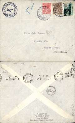 (Netherlands) Unoccupied Netherlands to Argentina, WWII uncensored airmail etiquette cover, flown by Air France, Amsterdam to Buenos Aires, bs 20/3/40, franked 127.50c, canc Amsterdam 12/3/40 cds. Correctly rated 127.50/5g for Air France, see Aitink and Hoverkamp p189, (cf LATI ,137.50c/5g and Pan Am-US 45c/5g). Carried by Amsterdam-Paris-Marseilles by train, then by Air France, likely flight #242A, from Marseilles 17/3/40 to Buenos Aires 20/3/40. No Netherlands or German censorship because posted before invasion by Germany on 10/5/40  (the last eastbound flight by Air France was on 23/6/40). A useful LATI collateral item which helps to distinguish covers carried from Europe to South America by Air France (127.50c/5g) and LATI (137.50c/5g) during the first nine months of WWII.