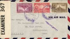 "(Venezuela) WWII censored airmail cover, Lagunillas to England, franked 1B 30c canc Lagunillas 14 Feb 1941 cds, purple ""Transatlantica"" hs, sealed black/white PC90 OBE 367 (Jamaica) censor tape. Carried FAM 5 to Miami, via Kingston, then trans Atlantic by FAM 18 to Lisbon. A nice example of the relatively inexpensive Pan Am rate to Europe for comparison with significantly higher rates charge by Air France and LATI."