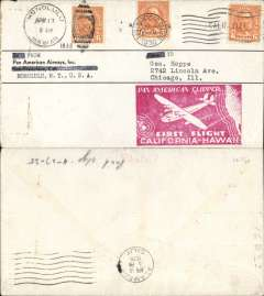 (United States) Hawaii Survey Flight, San Francisco-Hawaii, Honolulu Apr 17th arrival ds on front, large red California-Hawaii flight cachet, AAMC TO 1230.