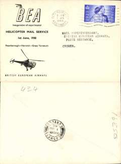 (Helicopter) BEA inauguration first helicopter-operated public mail service, Peterborough to Cromer, bs, black/white illustrated 'Helicopter Mail Service' souvenir cover.