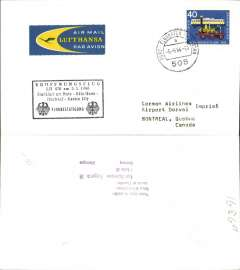(Germany) Lufthansa F/F Bonn to Montreal, Canada, no arrival ds, flight cachet.