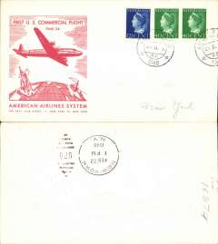 (Netherlands) American Overseas Airlines, F/F FAM 24, Amsterdam to New York, b/s, official red/cream souvenir cover.