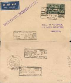 """(India) Imperial Airways/ITCA, Calcutta-London, Paisley (Scotland) 18 Jly 33 arrival ds on front, carried on first return of ITCA Trans Indian fllight from Calcutta via Asansol, Allahabad, Cawnpore, Delhi and Jodhpur to Karachi, black boxed """"Calcutta-Karachi/11 Jly 33/First Airmail"""" cachet used as arrival ds verso, red/white/blue Speedbird souvenir cover franked 8anna 6p, canc Calcutta Foreign cds. """"Rebut/Parti"""" hs, so returned by surface, boxed DLO calcutta 5/8 hs verso, via Bombay DLO 3/8 verso. Good routing."""