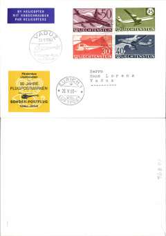 (Helicopter) Liechtenstein, 30th anniversary airpost, special flight Vaduz-Zurich, arrival ds on front, souvenir cover with imprinted black/yellow commemorative vignette, franked set of 4 of 30th anniversary of First Air Stamps.