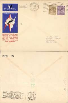 (GB External) Imperial Airways/Qantas, London to Brisbane, bs 21/12, carried on F/F extension of London-Singapore service to Australia, rated 1/3d, canc London Air mail cds, red/white/blue official Imperial Airways/Qantas 'Kangaroo' cover.