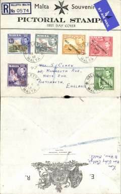 (Malta) Registered airmail cover, Valetta to England, no arrival ds, printed 'Malta Souvenir'First day Cover' with elaborated Ptd Cordina's 'Emporium' crested logo on flap, franked FDI New Constitution set of 6 values issued 8/1/53, canc Valette/Malta Ja 8 53 cds.