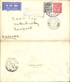 "(Malta) Valetta to England, no arrival ds, via Rome 19/9 transit cds, plain cover franked SG 175, 179, canc violet Air Mail/malta cds, violet boxed rectangular ""By Air/To Rome Only"" Jusqu'a. June 25th, 1931 was the latest known date of use of this Jusqu'a recorded by Malta Study Circle Paper #29."