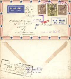 "(Malta) SANA/IAW, F/F Valetta to Genoa and on to New York, airmail cover franked 3 1/2d, canc violet 'Air Mail/Malta' cds, also Valetta cds, violet straight line ""1st Air Mail"" hs,  partial strike boxed violet jusqu'a cachet "" By Air To Genoa Only"", white on pale blue etiquette, Lloyd Air-Sea Mail cachet verso. Only short notice of this flight was given, so only small numbers were flown. Some gum suffusion verso."