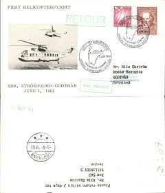 (Helicopter) Greenland,  first helicopter flight, Stromford-Godthab, bs 3/6, black/white souvenir card with picture of helicopters in flight, franked 350+5o, special souvenir flight cancellation ds.