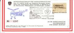 (Helicopter) Austria, special helicopter flight from Llangelbarn to Weiner Naustadt, multicoloured  souvenir tryptyrch card, franked 2S, black seven line, and blue 'helicopter' cachets.
