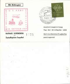 (Helicopter) Germany, special 'US Army' helicopter flight from Schoenberg to Tempelhofer, red/cream souvenir card, franked 10pf, special expo cancel, red US Army-Helicopter cachet.