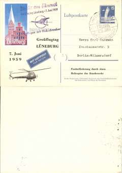 (Helicopter) Germany, special Grobgflugtag helicopter flight, blue/cream 15pf PSC, special Luneburg cancel, multicoloured Expo vignette, purple three line cachet.