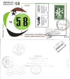 (Helicopter) Belgium, Sabena special helicopter flight, Brussels/Paris, b/s, black/brown/green souvenir cover, franked 2F50, special cancellation and flight cachet.