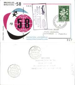 (Helicopter) Belgium, Sabena special helicopter flight, Brussels/Rotterdam, b/s, black/blue/purple souvenir cover, franked 2F50, special cancellation and flight cachet.