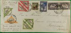 "(Liberia) Aeromaritime F/F, Monrovia to Dakar, b/s Mar 7cds, plain cover, 10x22 cm, franked 1936 air 1c x3, 2c x2, 4c and 19c other vals, canc Monrovia/ 6 III 37/Liberia cds, ms ""Erste vlucht du/Fransche Airmail/Africa-Europe""."