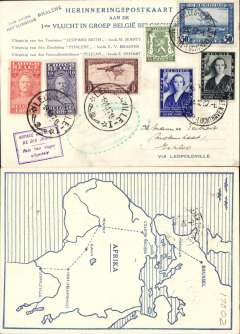 (Belgium) First group flight from Belgium to the Congo, Brussels to Leopoldville, and return, 6/11 arrival ds, blue/cream souvenir cover in Flemish with map of route verso, franked 3F30 Belgian stamps and 3F30 Congo stamps, green oval toothed flight cachet, also boxed violet 'Voyage Retarde/De Dix Jours/Reis tien dagen/uitgstteld' hs, Carried by the 'Phalene'. Flemish cards are much more elusive.