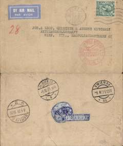 (GB External) Commercial airmail cover, London to Vienna, bs 9/4, via Berlin C2 8/4, buff airmail etiquette cover franked 4d, canc Blackpool cds, red Luftpost befordert Berlin C2 receiver on front, carried on the night airmail from London to Berlin, which was suspended for the winter and restarted on 2/4/31. Correctly rated 4d combined air and ordinary fee. Nice.