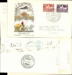 (Helicopter) Special flight Danish Stamp Centenary, Rosenberg to Kastrup, black/yellow/red/cream souvenir cover, franked FDI Danish Stamp Centenary set of 2, canc special postmark.