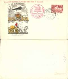 "(Helicopter) Special flight Danish Stamp Centenary, Rosenberg to Kastrup, black/yellow/red/cream souvenir cover, franked FDI Danish Stamp Centenary 25o 2, canc special postmark, typed ""1ste Helicopter-Flyvning Med Post 1 Danmark""."