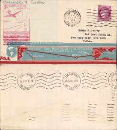 (France) F/F FAM18 Southern Atlantic route, Marseilles to Lisbon, bs 25/5, very attractive and uncommon cream/light blue and red souvenir 'map of route' cover with 'RCD 206 & AAMS 2001 New York' imprint, franked 3F, red flight cachet.