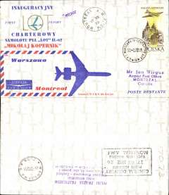 (Poland) LOT F/F IL-62 Charter Flight, Warsaw to Montreal, 17/7 arrival ds on front, attractive red/white/blue souvenir cover.