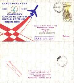(Poland) LOT F/F IL-62 Charter Flight round trip, Warsaw-Boston-Warsaw, bs, attractive red/white/blue souvenir cover.