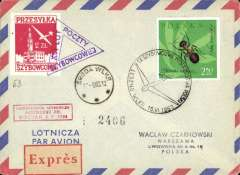 (Poland) Glider flight Leszno to Sroda, arrval ds on front, flown during 9th National Soaring Chamionships, red vignette tied by purple trangular cachet on airmail cover.