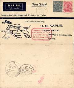 """(India) Calcutta to Bombay, bs 6/2, franked4 1/2 annas with red boxed """"Demonstration Flight/ First Direct Airmail Calcutta to Bombay"""" cachet, printed dark blue/cream souvenir 'map' cover."""