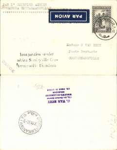 "(Belgian Congo) F/F new SABENA Eastern Congo internal route Usumbura to Costermansville, bs 30/11, plain Van Reet cover franked 75c, typed ""Par 1o Courrier Aerien/Usumbura to Costermansville"", dark blue/white airmail etiquette."