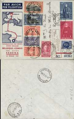 "(Belgium) F/F SABENA Brussels-Leopoldville, bs 28/2, and return to Brussels 8/3, souvenir cover carried on the first regular F/F SABENA flight by the aircraft ""Edmond Thieffrey"" from Brussels to Leopoldville via Marseilles-Oran-Colomb Bechar-Reggan-Gao-Niamey-Zinder-Fort Lamy-Bangui-Coquilhatville, franked Belgium 4F and Congo 4F stamps, red framed bilingual French/Flemish F/F cachet."
