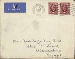 (GB External) Imperial Airways flown cover to London to Egypt, bs Alexandria 19/2, plain etiquette cover correctly rated 3d, addressed to crew member aboard HMS 'Valiant'. HMS Valiant was a Queen Elizabeth-class battleship of the Royal Navy, launched in 1914, in 1931 her crew participated in the Inver Gordon Mutiny and in WWII she saw action in the Mediterranean and the Far East.