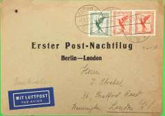 (Germany) DLH First Airmail Night Flight, Berlin to London, no arrival ds, franked 1926 5pf, 10pfx2 airs, canc Berlin C/L2/ 1.5.29, black/grey printed souvenir cover, bilingual airmail etiquette. Michel #29.4, val 150u, 1995.
