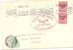 (Ireland) Experimental flight Galway to London, arrival ds on front, plain cover franked 2d, magenta oval flight cachet, Irish Airways Ltd. Francis Field authentication hs verso.