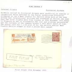 """(GB Internal) Provincial Airways Ltd, inauguration of the third GB Internal Airmail Service, """" West Country Air Service"""", London to Plymouth, 3d orange bi-coloured vignette tied by Plymouth 25 Nov 1933 machine cancel applied on arrival, framed """"First Flight"""" cachet, plain cover. The service operated for six days only. Francis Field authentication hs verso."""