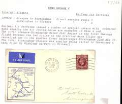 (GB Internal) Railway Air Service, first through flight Glasgow-Birmingham, bs 22/8, Francis J. Field souvenir cover with blue/white map showing all RAS air routes, franked FDI KGV photogravure 1 /2d, postmarked Glasgow 21 Aug/1934 machine cancel, airmail etiquette. The 21/8 flight was cancelled due to bad wather.