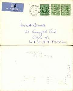 (GB Internal) Hillman Airways, Ninth Inland Airmail Service, London-Liverpool-Belfast-Glasgow, Glasgow (6.00am) to Liverpool, no arrival ds, plain cover.