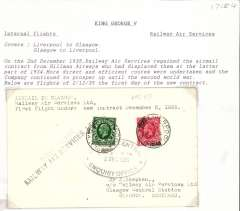 """(GB Internal) F/F New RAS Contract folllowing the expiry of the Hillman AW contract, first direct flight Liverpool to Glasgow, plain cover, franked 1 1/2d, addressed to the Company offices and bearing the Company's official black oval """"Glasgow Central/LMS & SR/2 Dec 1935/Enquiry Office"""" receiving cachet, also blue st. line """"First Flight"""" hs and black """"Railway Air Services Ltd"""" cachets."""