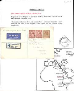 (GB External) Imperial Airways, first airmail England to Africa, London to Khartoum, bs Sudan Air Mail/Khartoum 7/3 cds, plain registered (label) cover, franked 8d, canc Muswell Hill cds, ms 'Via First England-Africa Flight'. Registered covers are uncommon. Written up on album leaf with map of route.