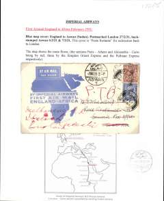 (GB External) Imperial Airways, first airmail England to Africa, London to Aswan, bs 6/3, official blue/white 'map' souvenir cover, franked 4d, canc London FS/Air Mail cds.