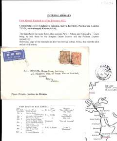 (GB External) Imperial Airways, first airmail England to Africa, London to Kisumu, bs 9/3, official airmail etiquette cover from the 'Vice Presdent of The Chase National Bank, London' printed on the flap, franked 7d, typed 'First Flight, London to Kisumu'. Written up on album leaf with map of route.