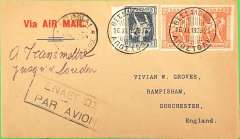 (Greece) Imperial Airways, Salonika to London, no arrival ds, carried on the second and last first service to the new 'All Air' European service, printed 'Via Air Mail'  buff cover franked 1911 2d x2, 10d, canc Salonika cds, dark blue framed Greek airmail cachet, ms 'A Transmettre/jusqua London'. This particular route was followed for two services only, Wingent p26.