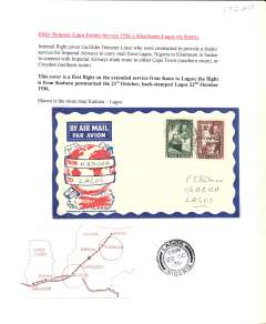 (Nigeria) Inauguration of Elder Demster Lines, Kaduna to Lagos, bs 22/10, carried on the inaugural Khartoum-Kano-Lagos Feeder Service, attractive red/white blue Philatelic Magazine cover franked 2d.
