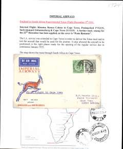 "(Kenya) Imperial Airways, first England-South Africa experimental Christmas flight, Kisumu to Cape Town, bs 21/12, Springbok souvenir cover franked 55c, typed ""First Flight to Cape Town"". Written up on album leaf with map of route."