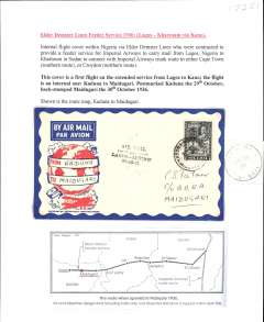 """(Nigeria) Inaugural West African Lagos-Khartoum Feeder Service, also Imperial Airways F/F Lagos to London, F/F Kaduna to Maiduguri, bs 30/10, attractive Philatelic magazine cover franked 2d, black four line """"Air Mail/First Despatch/Lagos-London/29-10-36"""". Typed up on album page with map of route."""